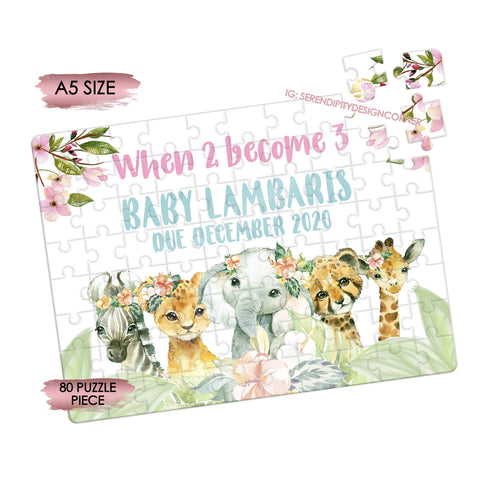 Personalised Pregnancy Announcement Safari Jigsaw Puzzles