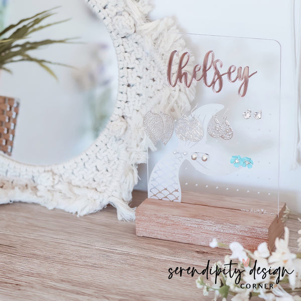 Personalised Acrylic Earring Stand - Mermaid