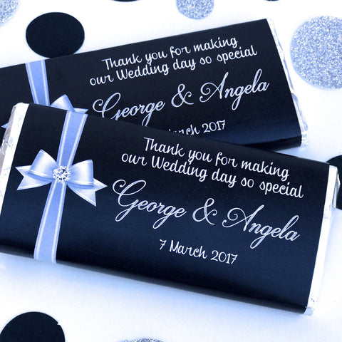 Personalised Ribbon Bow Wedding Engagement Chocolate Wrappers