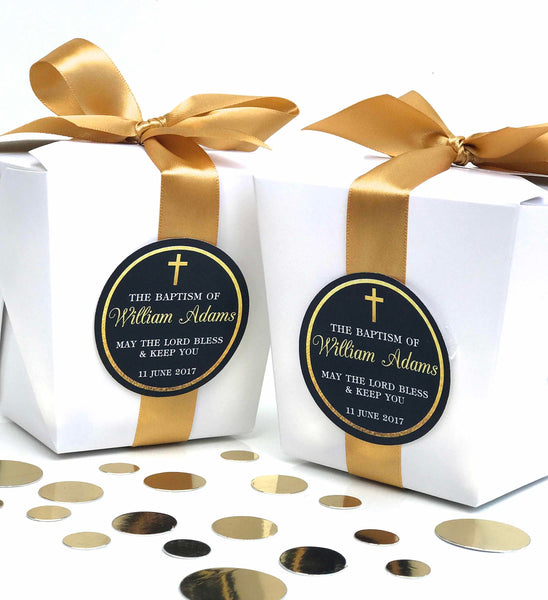 Personalised Elegant Baptism Christening Black & Gold Chocolate Wrappers