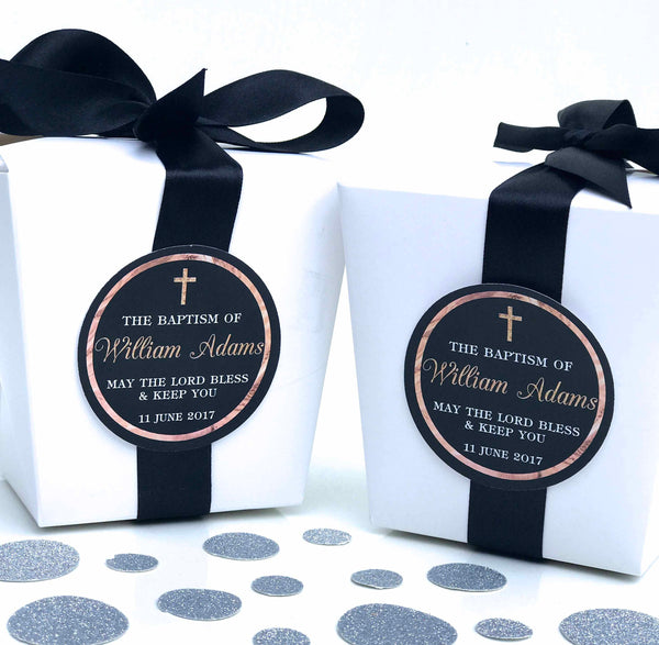 Personalised Rose Gold Baptism Christening Chocolate Wrappers