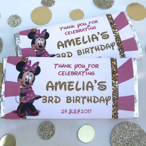 Personalised Minnie Mouse Birthday Party Chocolate Wrappers