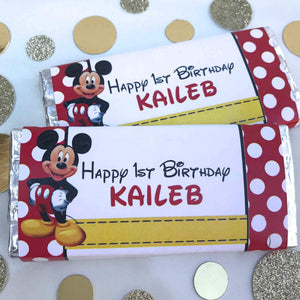 Personalised Mickey Mouse Disney Birthday Party Chocolate Wrappers