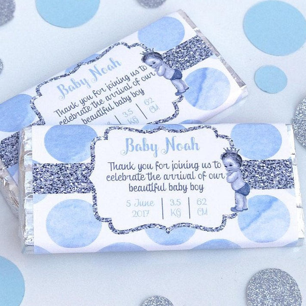 Personalised New Baby Announcement Vintage Chocolate Wrapper - Blue Pink