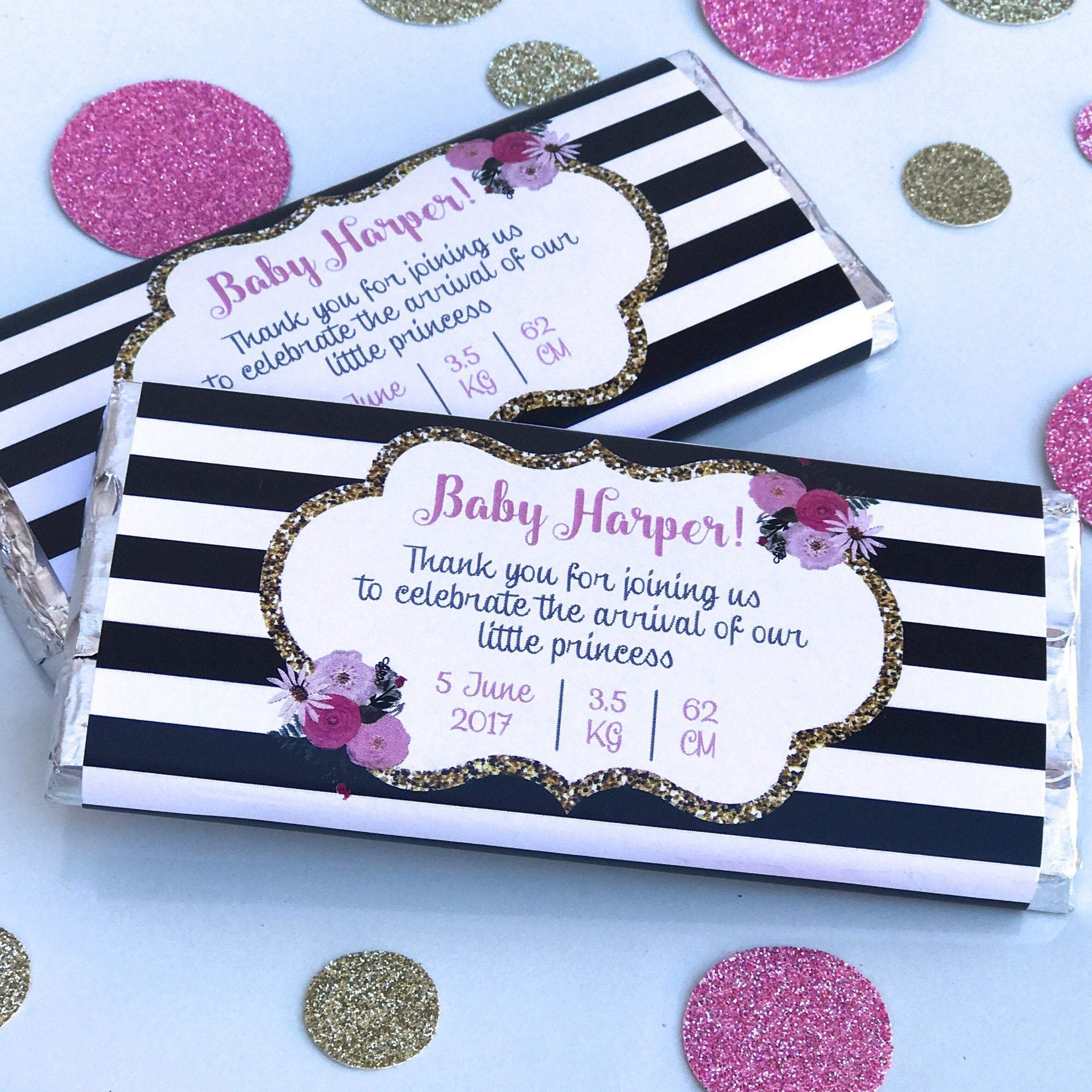 Personalised New Baby Announcement Black White Stripes Chocolate Wrapper - Blue Pink