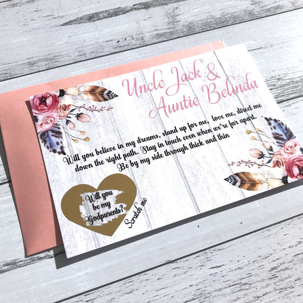 Personalised Scratch Off Godparent Floral Proposal Card