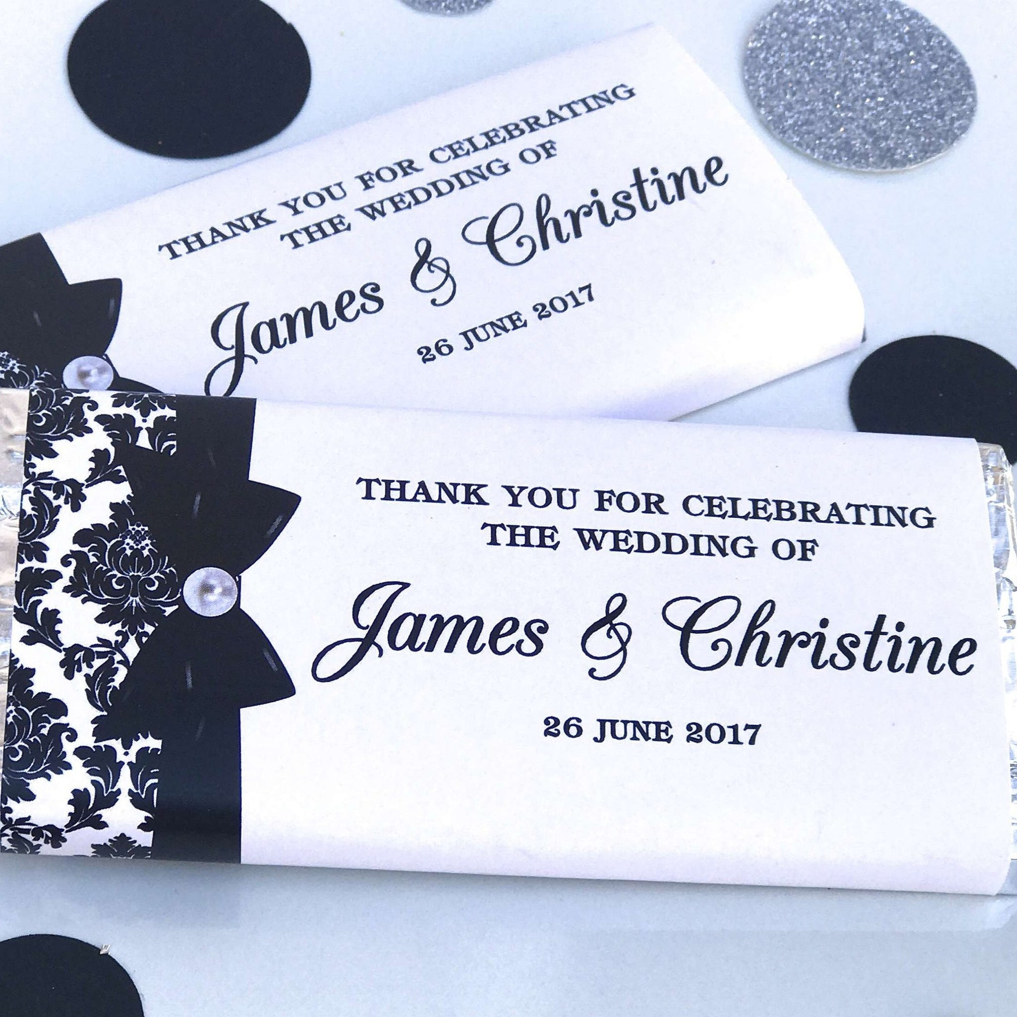 Personalised Black & White Wedding Engagement Chocolate Wrappers