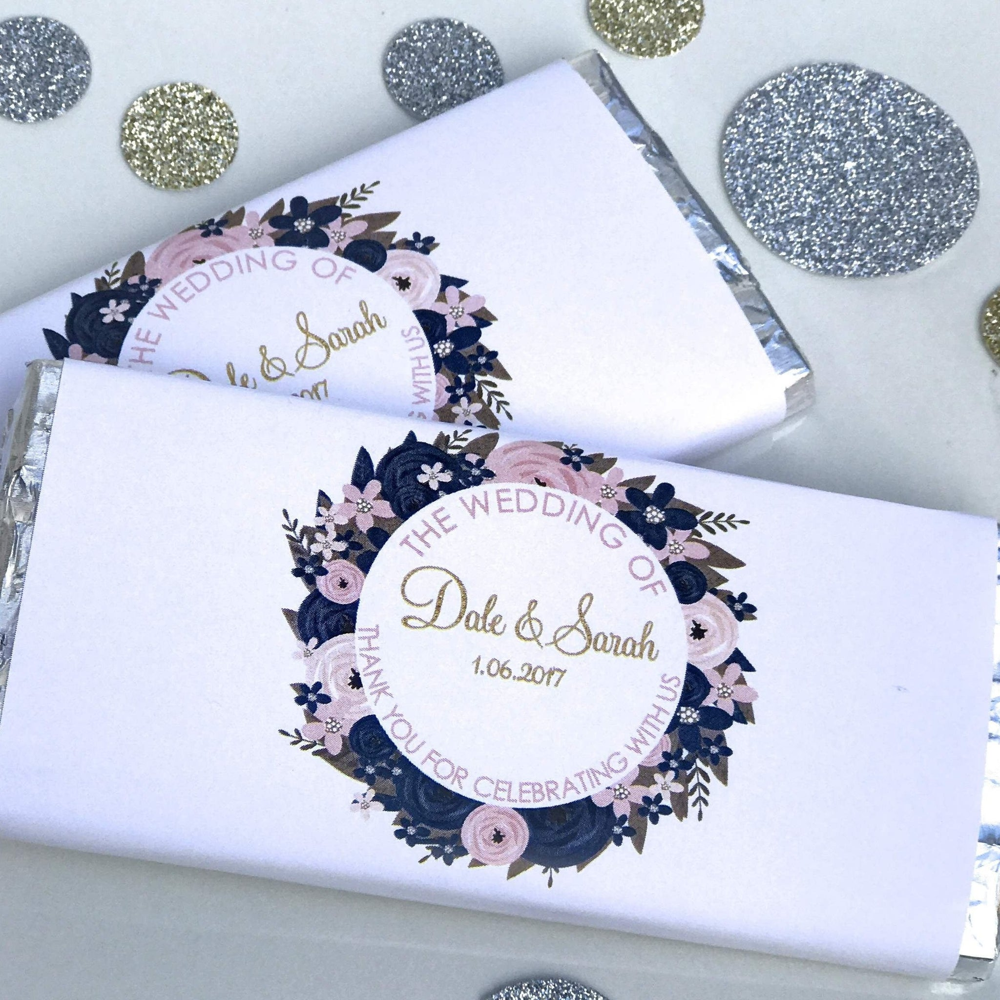Personalised Navy & Pink Floral Wedding Engagement Chocolate Wrappers