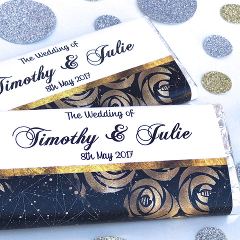 Personalised Floral Galaxy Wedding Engagement Chocolate Wrappers