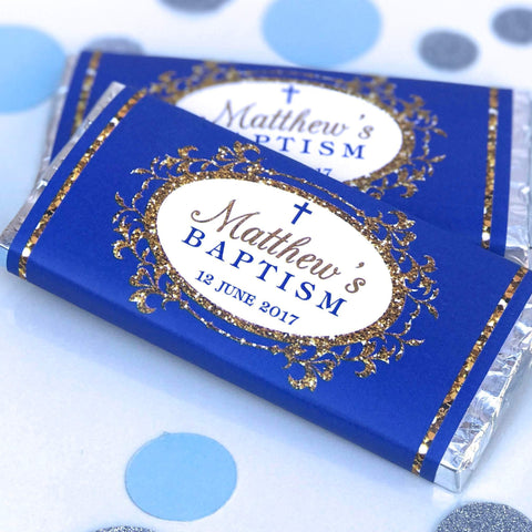 Personalised Elegant Baptism Christening Blue & Gold Chocolate Wrappers