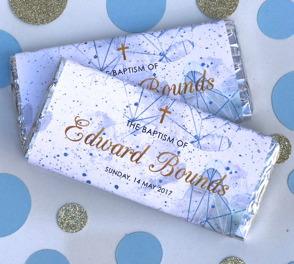 Personalised Elegant Baptism Christening Geometric Chocolate Wrappers - Pink or Blue