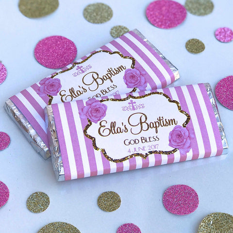 Personalised Striped Baptism Christening Stripes Chocolate Wrappers - Pink or Blue