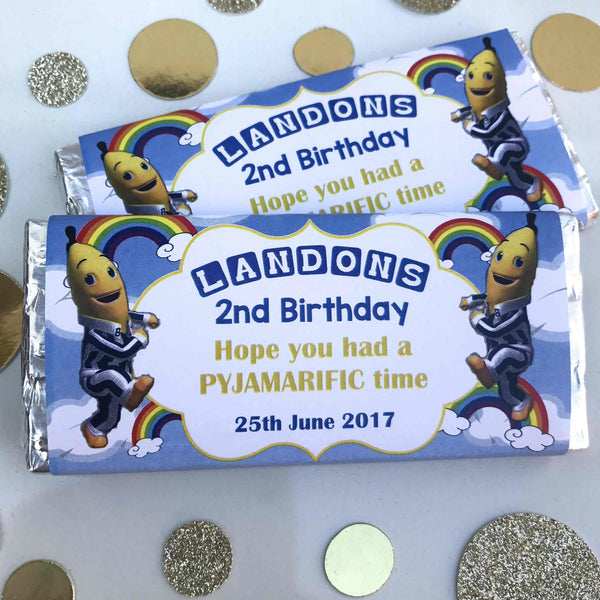 Personalised Bananas In Pyjamas Chocolate Wrappers