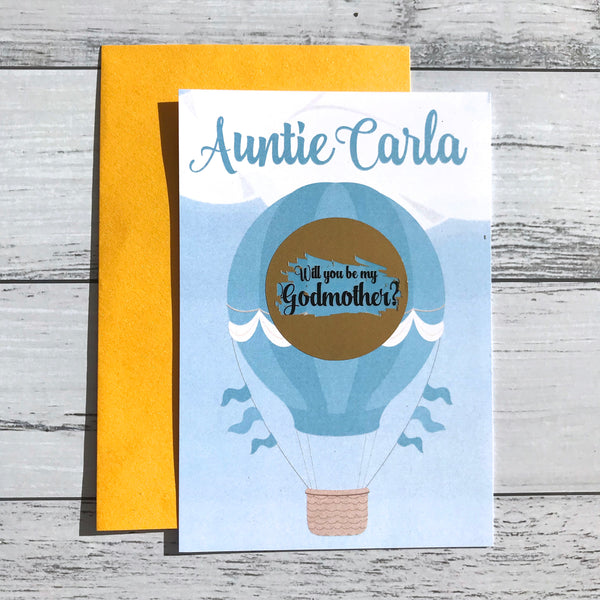 Personalised Scratch Off Godparent Balloon Proposal Card