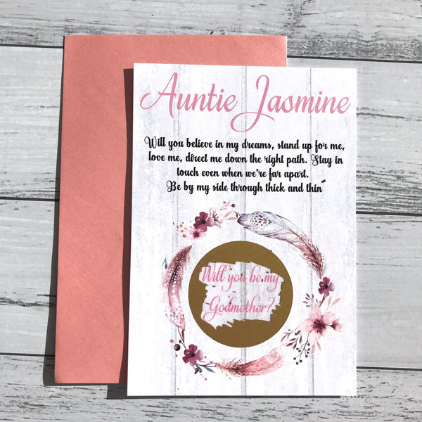 Personalised Scratch Off Godparent Boho Floral Proposal Card