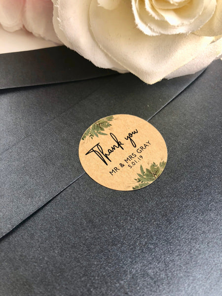 Personalised Kraft Brown With Love Rustic Stickers