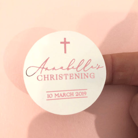 Personalised Baptism Christening Gloss Foil Stickers
