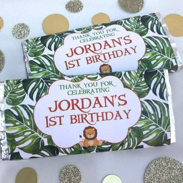Personalised Jungle Safari Chocolate Wrappers