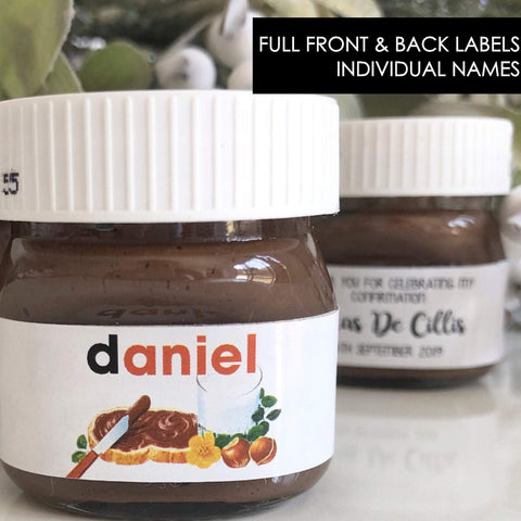 Personalised Front & Back Individual Names Nutella Mini 30g or 25g Labels