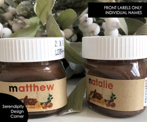 Personalised Kraft Rustic Individual Names Nutella Mini 30g or 25g Labels