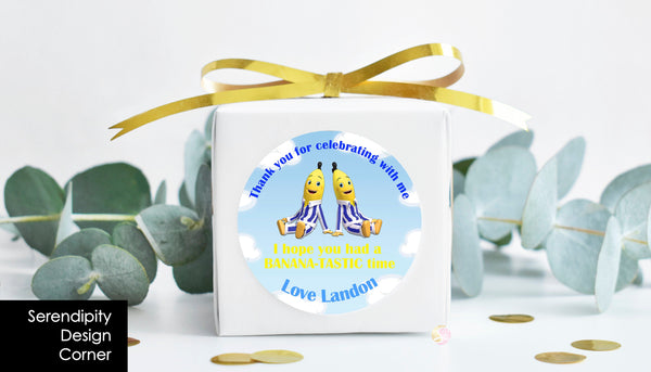 Personalised Bananas in Pyjamas PJs Birthday Party Stickers