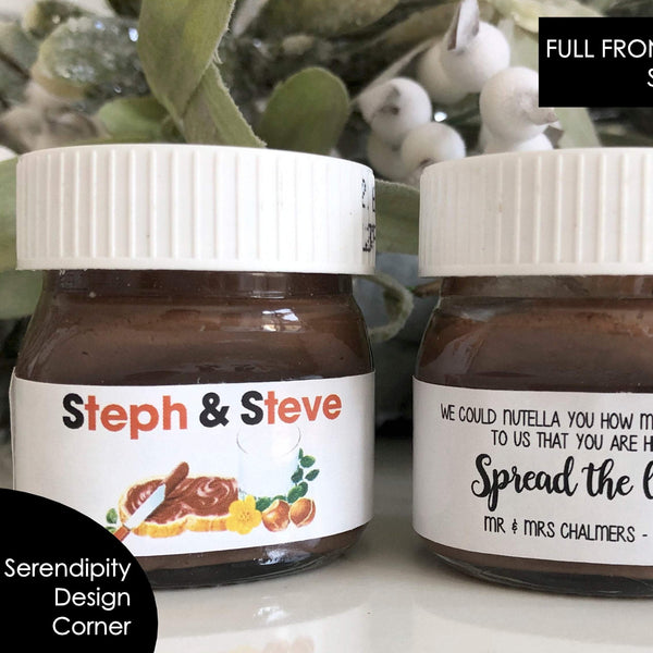 Personalised Nutella Full Whole Label Stickers - Same Name Only Nutella Mini 30g or 25g Labels Stickers