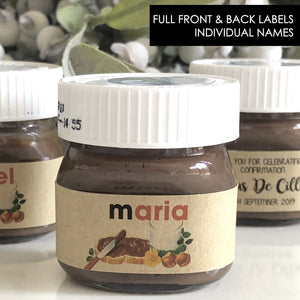 Personalised Kraft Rustic Front & Back Individual Names Nutella Mini 30g or 25g Labels