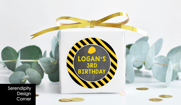Personalised Construction Birthday Party Pop Top Labels