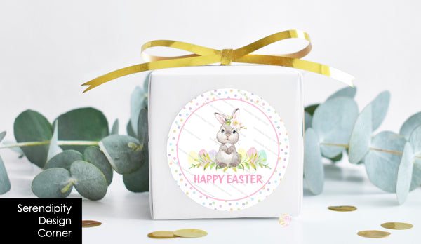 Personalised Easter Egg Bunny Pastel Gloss Stickers