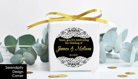Personalised Wedding Engagement Gloss Thank You Lace Gold Stickers