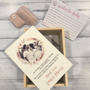Personalised Wishes for Baby Keepsake Gift Box with cards - Boho Baby Shower