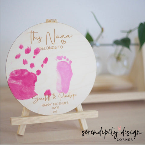Mother's Day Hand Feet Painting | Wooden Mother's Day Sign
