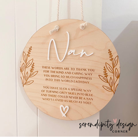 Personalised Mother's Day Wooden Sign | Nan Plaque