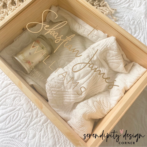 Personalised Wooden Keepsake Box - Christening Keepsake Box
