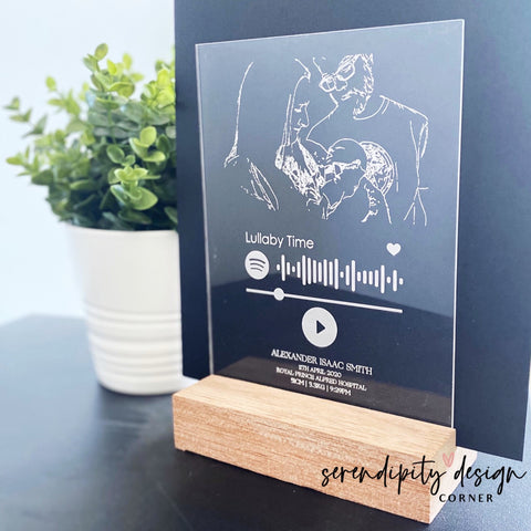 Line Art Illustration & Spotify Code Frame | New Baby Nursery Frame | Hospital Birth Details Frame