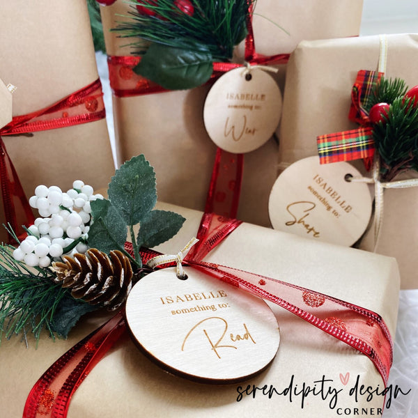 Something you need, want, wear, read, do and share tags - Personalised Wooden Engraved Gift Tags