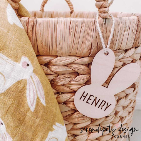 Personalised Easter Bunny Wood Gift Tag