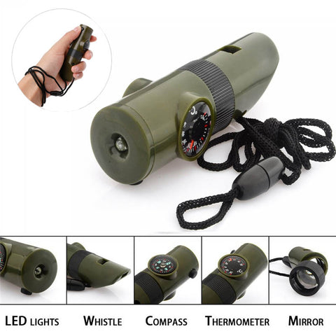 7 in 1 Outdoor Emergency Survival Whistle Tool