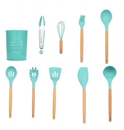10pcs mint green Silicone Kitchenware