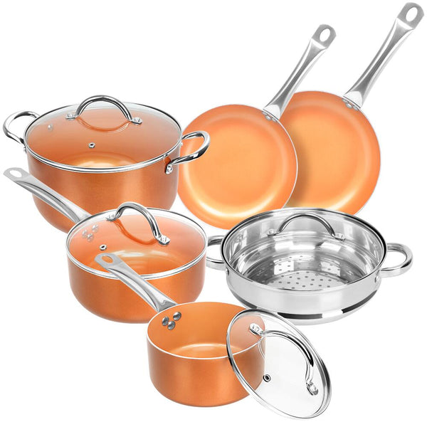 10 Pcs Cookware Set Copper Pots and Pan Set Induction Nonstick Chef Skillet Fry Sauce Steamer Ceramic Coating Kitchen Pot
