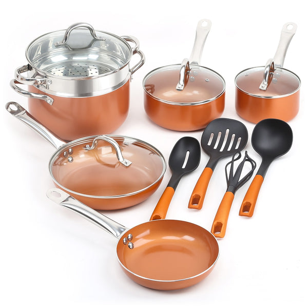 14 pieces Copper Non-stick Frying Pans Cooking Pots and Pans with Ceramic and Induction Cookware Set Kitchen Set