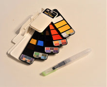 Load image into Gallery viewer, fanned, collapsible watercolor set with brush pen.