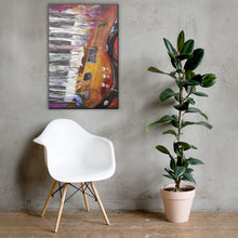 Load image into Gallery viewer, Shredded print shown hanging on wall above chair with floor plant to show scale, against light background.