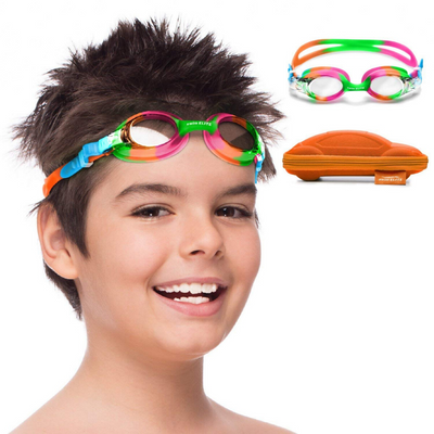 Swimming Goggles for KidsKids Goggles for Swimming with Fun Car Hard Case for Kids & Toddlers Age 2-8