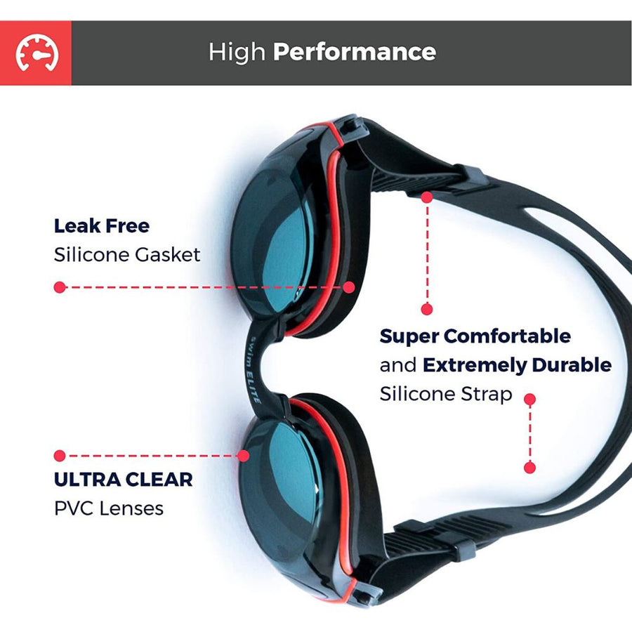 Unisex Swimming Goggles swim-elite1 BLACK