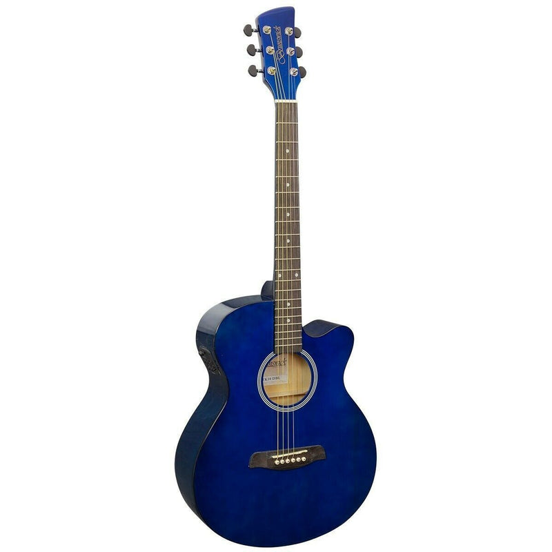 BRUNSWICK GRAND AUDITORIUM ELECTRO ACOUSTIC GUITAR DARK BLUE GLOSS