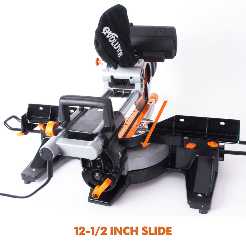RAGE3-DB: Dual Bevel Sliding Miter Saw With 10 in. Multi-Material Cutting Blade - Evolution Power Tools LLC