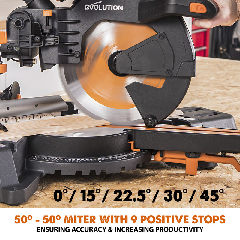 R255SMS-DB+: Dual Bevel Sliding Miter Saw With 10 in. Multi-Material Cutting Blade - Evolution Power Tools LLC