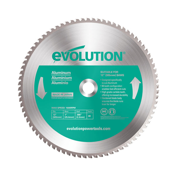 Evolution 12 in. 80T, 1 in. Bore, Tungsten Carbide Tipped Aluminum and Non-Ferrous Metal Cutting Blade
