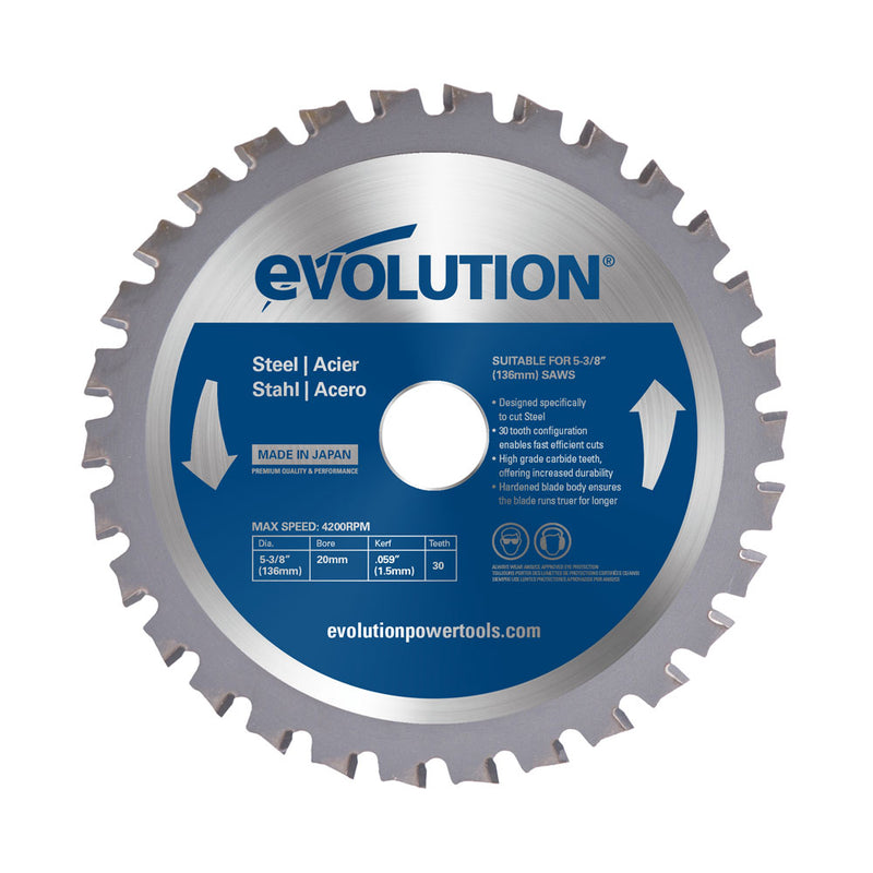 5-3/8 in. Mild Steel TCT Blade - Evolution Power Tools LLC